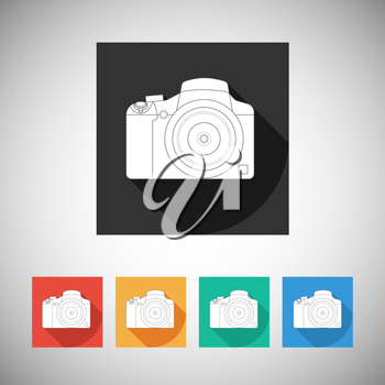 Vamera icon on square background with long shadow, vector for your design