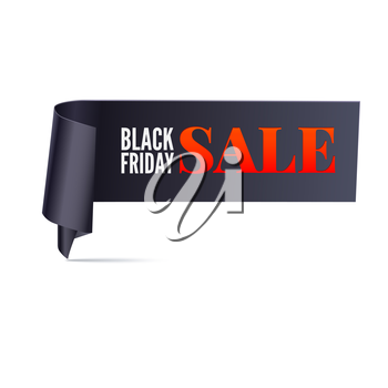 Black friday sale curved banner. Ribbon on white background. Vector for you