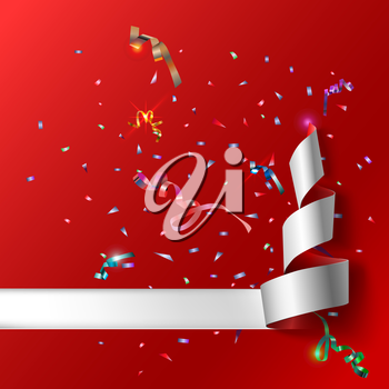 Colorful streamers with confetti. Red curved ribbon, on celebration background with colorful confetti and ribbons. New year and xmass background