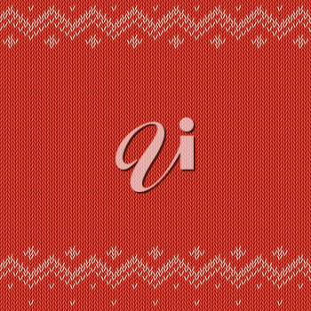 Red knitted background with classic pattern, vector editable resizable illustration