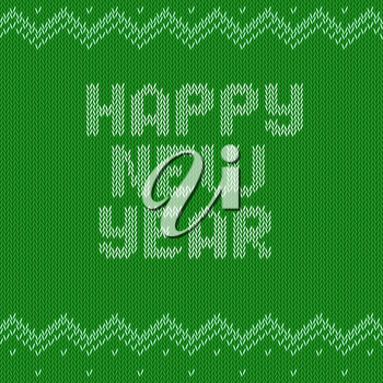 Knitted text Happy New year on green background. Christmas crochet font on knitted classic ornament pattern. All the letters are on different layers