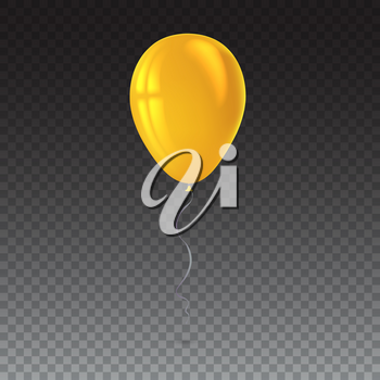 Inflatable air flying balloon isolated on transparent background. Close-up look at yellow balloon with reflects. Realistic 3D vector illustration