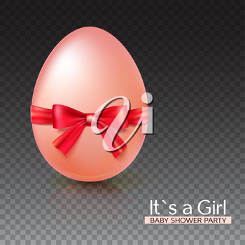 It s a girl baby shower concept with red ribbon bow and egg. Vector illustration. Party invitation template on transparent background.