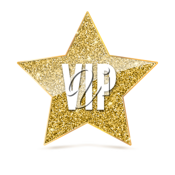 Five-pointed star with Golden edging and the inscription VIP. Sign of exclusivity and elitism with bright, Golden glow. Template for vip banners or card, exclusive certificate, luxury gift or voucher
