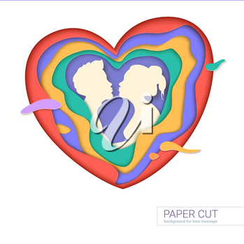 Template of greeting card with shape of kissing couple. Realistic multi layers, carving of paper. Print template for cards with paper-cut shapes of heart, modern abstract design. 3D Illustration.