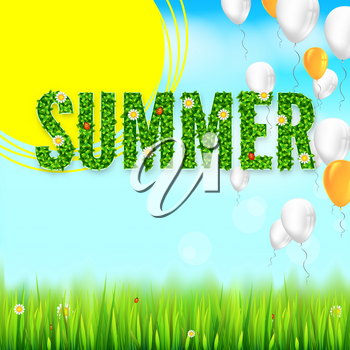 Summer text from green leaves, summer flowers and ladybugs. Letters on lawn backdrop, grass and blue sky with clouds. White and yellow inflatable balloons flying in the sky, Eco-card, 3D illustration.
