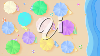 Top view on summer filled beach in paper craft style. Aerial view on seashore with sun umbrellas, deck chairs, balls, swimming ring, surfboard, sandals, starfish. Horizontal background.