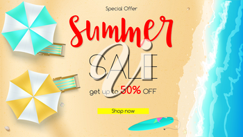Sales action, summer offer. Get up to fifty percent discount. Seashore, sandy beach with deckchairs, sun umbrellas and design of text. Reduced prices on coastline backdrop, template for poster banner