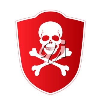 Red shield with emblem of death and danger. Skull and crossed bones on red background. Vector icon, illustration isolated on white.