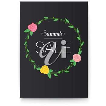 Poster of Summer sale. Handwritten text and picture of flowers with foliage. Advertising of Summer sale, hand-drawn vintage design. Summer lettering for prints, posters, travel agency events.