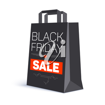 Black paper shopping bag with ad text. Black friday sale on the bag. 3D illustration. Template for online shopping, advertising actions