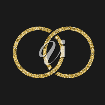 Engagement icon with glitter effect, isolated on black background. Outline icon of wedding ring, vector pictogram. Symbol from golden particles dust.