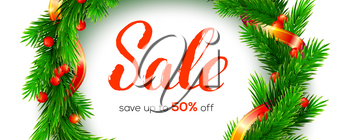 Winter Sale. Up to 50 percent discount. Banner with design of handwritten lettering. Close up fir wreath and ribbon isolated on white background. Vector 3d illustration for holidays discount actions