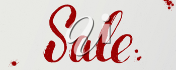 Sale, handwritten lettering of dry brush. Original handwritten calligraphy of red ink. Grungy vector background with ink blots and splashes, EPS 10.