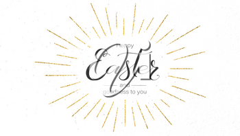 Happy Easter festive greeting card. Design of calligraphy lettering. Vintage handwritten text with golden glittering rays. Retro label for religious holiday. Vector illustration isolated on white
