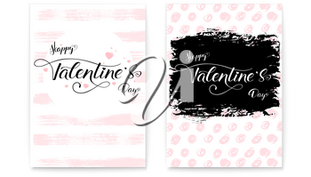 Happy Valentines day. Set, collection of modern covers. Hand-drawn text lettering, brush strokes and handwritten doodle. Calligraphy in vintage, hipster style. Template for invitation, wedding cards.