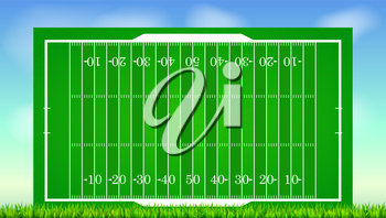 Football field with grass on blue backdrop of sky. Background for posters, banner with american football field with markup, top view. 3D illustration, ready for print and design.