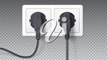 Electric plugs and socket. Realistic black plugs inserted in white electrical outlet, isolated on transparent. Vector 3D illustration, icon of device for connecting electrical appliances