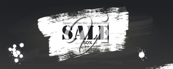 Sale. Creative billboard for ad of sales with discounts. Smears of white paint on blackboard. Brush strokes of acrylic paint and blots. Realistic brushstrokes texture. Get up to 50 percent discount.