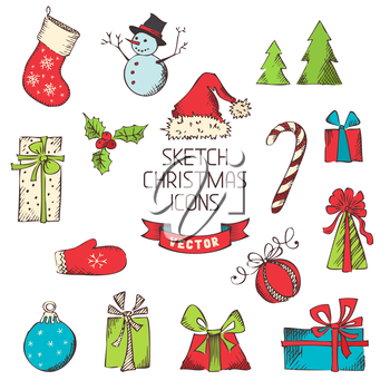 Hand-drawn vintage Christmas objects for your design isolated on white background.