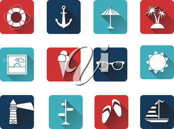 Sea summer icons for your design isolated on white background. White silhouettes on colored icons.