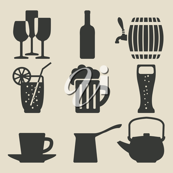 drink icons set - vector illustration. eps 8