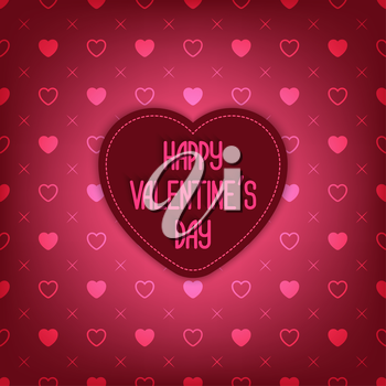 Valentine Day card. Red background with heart seamless pattern - vector illustration. eps 10