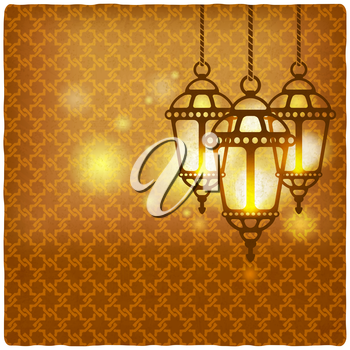 ramadan kareem golden background with shining lanterns - vector illustration. eps 10
