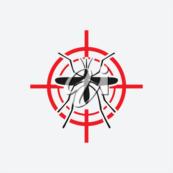 mosquito icon red target - vector illustration. eps 8