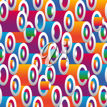Multicolor modern gradient geometric cylinder seamless pattern. Vector illustration