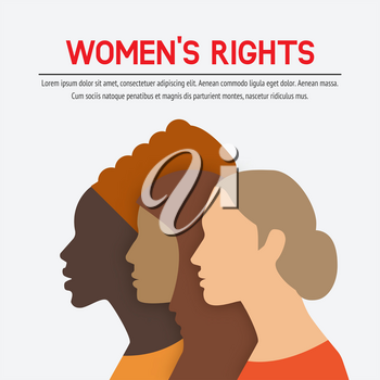 Women rights concept. Three of the female profile. vector illustration - eps 10