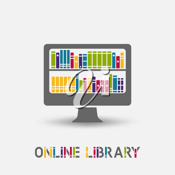 Online e-book library design symbol. laptop monitor with books on the shelves. vector illustration