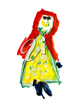 childs drawing - smiling red hair girl in yellow dress