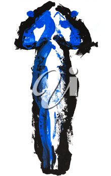 childs painting - abstract blue and black silhouette
