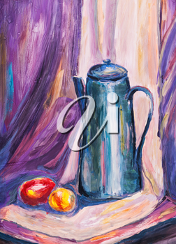 childs painting - still life with big metal coffee pot