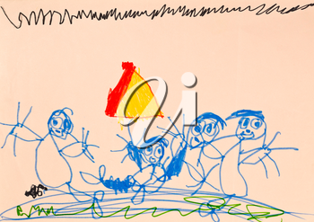 childs drawing - happy family in tourist camping