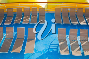 outdoor relaxation deck on stern of cruise liner