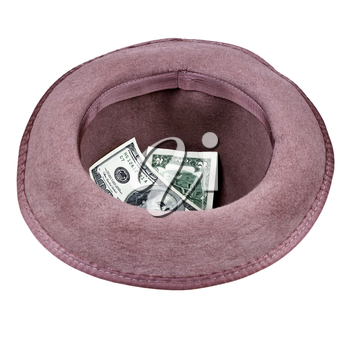 brown hat with 100 and 2 dollar bills, isolated on white