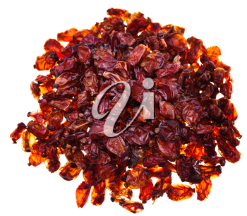 top view of many red barberries spices isolated on white background