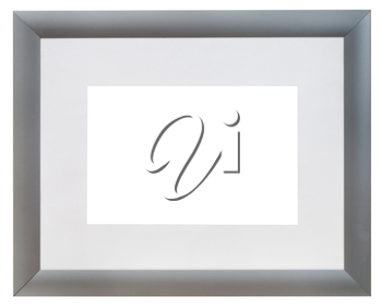 modern wide silver picture frame with grey mat with cutout canvas isolated on white background