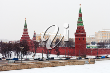 snow in Moscow - view of Kremlin in winter snowing day