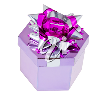 shiny pink foil gift box with tinsel knot isolated on white background