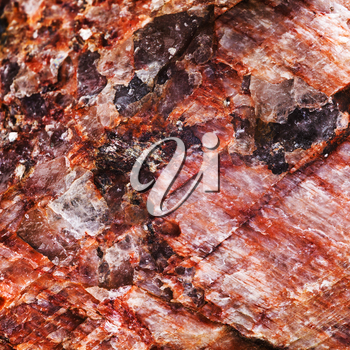 macro view background from pink rock stone with crystalline inclusions