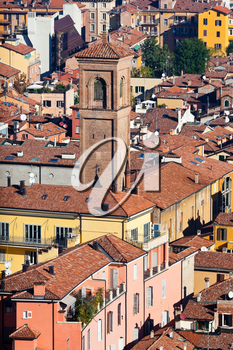 aerial view on old town from Asinelli tower in Bologna, Italy