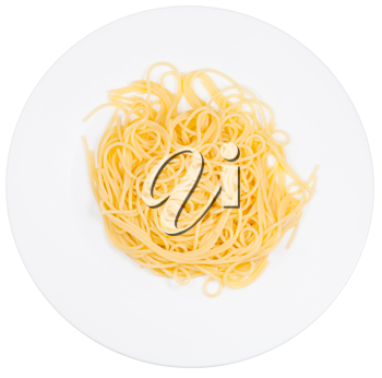 top view on spaghetti al burro on white plate isolated on white background