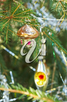 glass home and lantern christmas tree vintage decoration close up