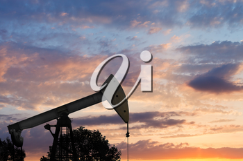 view of pumpjack pumping oil at summer sunset