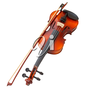 typical wooden fiddle with transitional bow isolated on white background