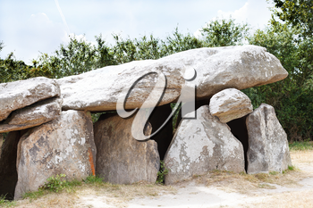 ancient stone dolmen in Briere Regional Natural Park, France