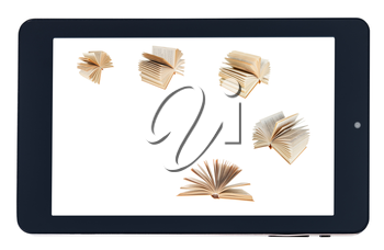 flying books on screen of black tablet-pc isolated on white background